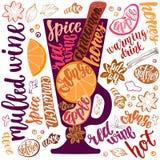 Vin chaud chauffé Illustration décorative de vecteur et brosse manuscrite marquant avec des lettres votre conception illustration libre de droits