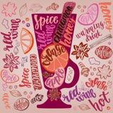 Vin chaud chauffé Illustration décorative de vecteur et brosse manuscrite marquant avec des lettres votre conception illustration stock