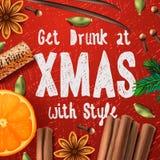 Vin chaud de boissons de Noël illustration stock