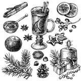 Vin chaud et épices réglés Photographie stock