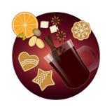 Vin chauffé Épices et biscuits de Noël illustration stock