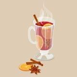 Vin chauffé avec l'orange illustration stock