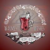 Vin chauffé par Noël Verre de boisson et d'ingrédients tirés par la main illustration libre de droits