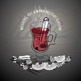 Vin chauffé par Noël Verre de boisson et d'ingrédients tirés par la main illustration stock