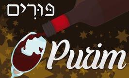 Vin délicieux servi dans une nuit juive de célébration de Purim, illustration de vecteur illustration libre de droits