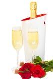 Vin de champagne de Saint-Valentin Images libres de droits