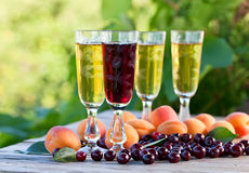 Vin de liqueur et fruits Images stock
