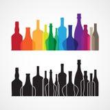 Vin de vecteur et bouteille de whiskey colorés Images libres de droits