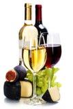 Vin, druva och ost royaltyfri bild
