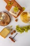 Vin, druvor, ost och muttrar Top beskådar royaltyfri fotografi