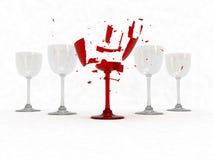 vin en verre cassé Photos stock