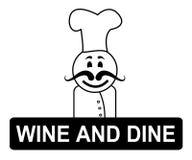 Vin et chefs de Dine Means Fine Dining And Image stock