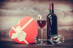 Vin et coeur Photographie stock libre de droits
