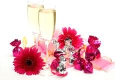 Vin et fleurs Images libres de droits