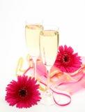 Vin et fleurs Image stock