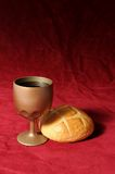 Vin et pain Photographie stock libre de droits