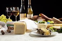 Vin et repas Photographie stock libre de droits