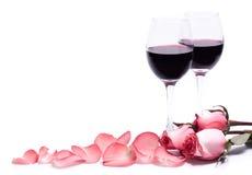 Vin et roses Photos libres de droits
