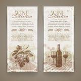 Vin et vinification - bannières grunges de vintage illustration de vecteur