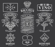 Vin förser med märke, och symboler som är vita på svart, ställer in C Royaltyfria Foton