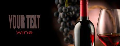 Vin Flaska och exponeringsglas av rött vin med mogna druvor royaltyfria foton