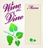 Vin från vinrankamenyn Royaltyfri Bild