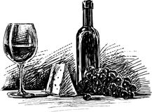 Vin, fromage et raisin Photos stock