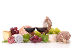 Vin, fromage et saucisse Image libre de droits