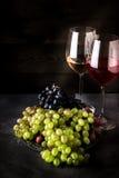 Vin i exponeringsglas och olika typer av druvan på mörk bakgrund royaltyfri bild