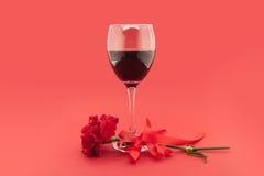 Vin i exponeringsglas, röd nejlika med det vita bandet på rött Arkivbild