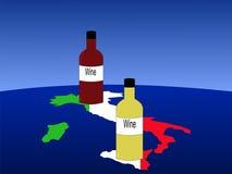 Vin italien avec la carte illustration stock