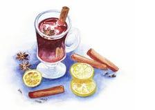Vin mullled par aquarelle Images stock