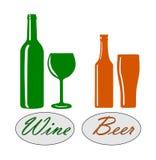 Vin och öl. Royaltyfri Bild