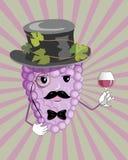 Vin och druva Vektor Illustrationer