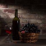 Vin och och en korg med druvor fotografering för bildbyråer