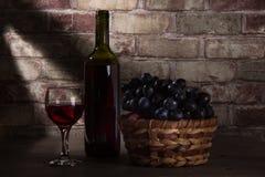 Vin och och en korg med druvor arkivbilder