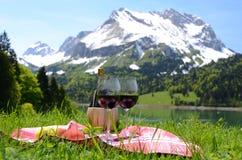 Vin och frukter som tjänas som på en picknick Royaltyfria Bilder