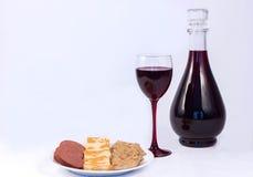 Vin och mat Arkivfoto