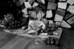 Vin, ost och druvor - en smaklig matställe fotografering för bildbyråer