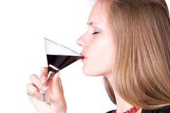 Vin potable de jeune femme Image stock
