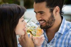 Vin potable heureux d'homme et de femme en parc Image stock
