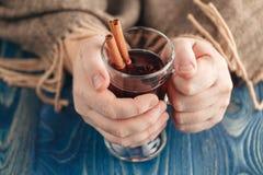 Vin rouge épicé chaud d'horaire d'hiver dans la tasse en verre Photographie stock