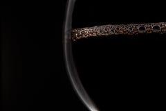 Vin rouge avec des bulles en verre sur le fond noir Photo stock