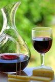 Vin rouge avec du fromage Images libres de droits