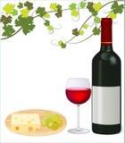 Vin rouge avec du raisin et le fromage Photos libres de droits