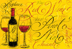 Vin rouge avec la calligraphie Photos stock