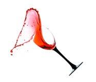 Vin rouge avec une éclaboussure Images libres de droits