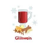 Vin rouge chauffé - boisson d'alcool d'hiver, vecteur illustration libre de droits