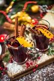 Vin rouge chauffé chaud de fête servant Photographie stock libre de droits