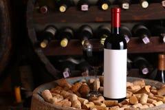 Vin rouge dans la cave photo libre de droits